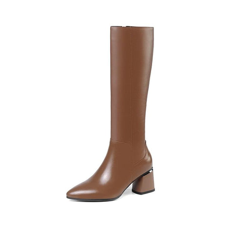 Pointed Toe Leather Boots