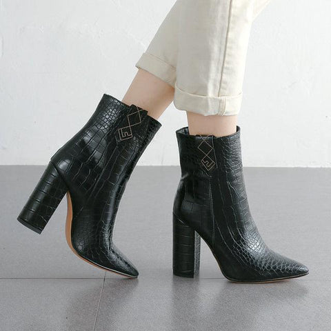 Pointed Toe Mid Calf Boots