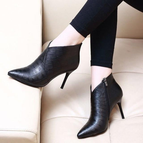 Pointed Toe Thin Heels Booties