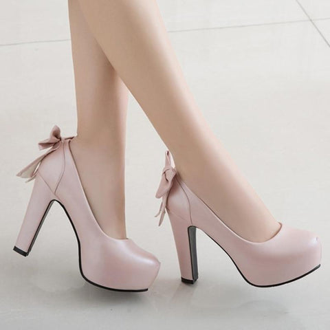 Sweet Bow Platform Wedding Pumps