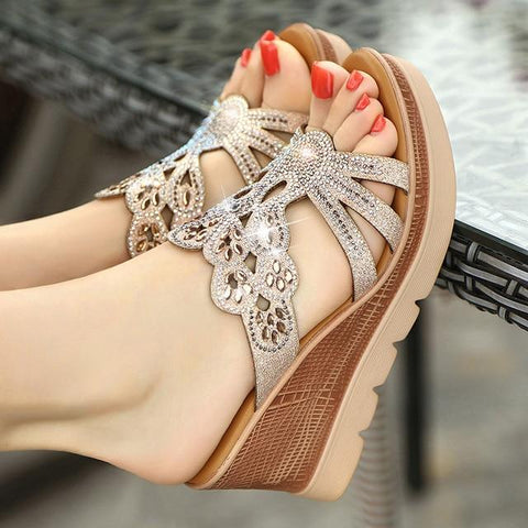 Hot Summer Sandals Elegant Rhinestones  Wedges