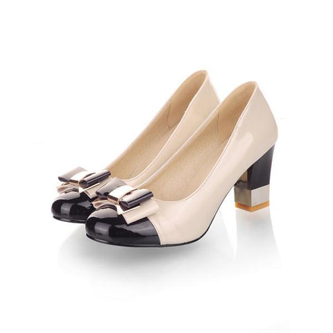Round Toe Basic Office  Shoes Chunky  Bow High Heels