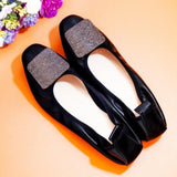 Genuine Leather Ballet Flats  Rhinestone Soft Loafers