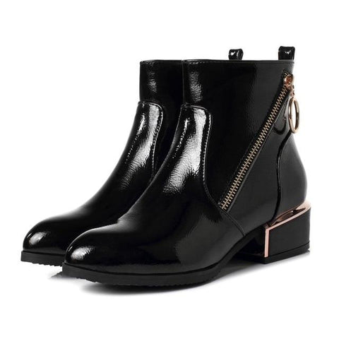 Side Zipper Ankle High Boots