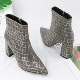 Square Heels Animal Print Boots