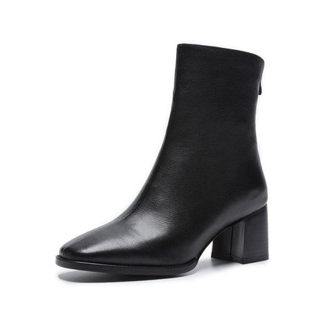 Square Heels Leather Boots