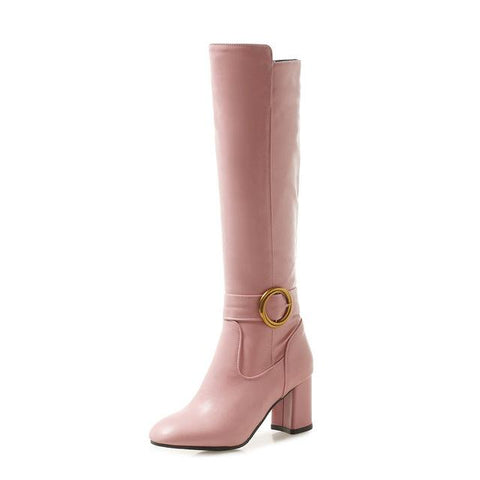 Women Round Toe Knee High Boots