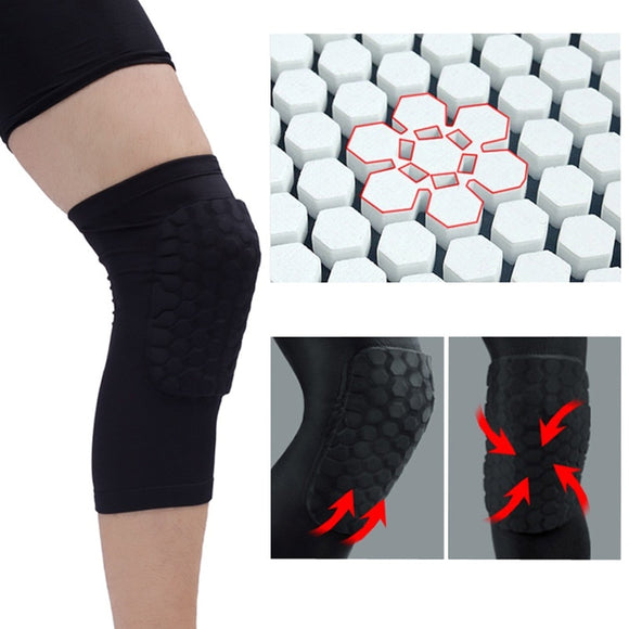 1Pcs Strengthen Kneepad Honeycomb Knee Pads Crashproof Antislip Basketball Leg Knee Sleeve Protective Pad Support Guard Padded B - Xtrem Shopping