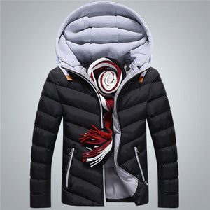 Winter Jacket Men Hat Detachable Warm Coat Cotton-Padded Outwear Mens Coats Jackets Hooded Collar Slim Clothes Thick Parkas X327 - Xtrem Shopping