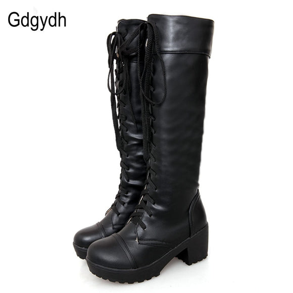 Gdgydh Large Size 43 Lace Up Knee High Boots Women Autumn Soft Leather Fashion White Square Heel Woman Shoes Winter Hot Sale - Xtrem Shopping