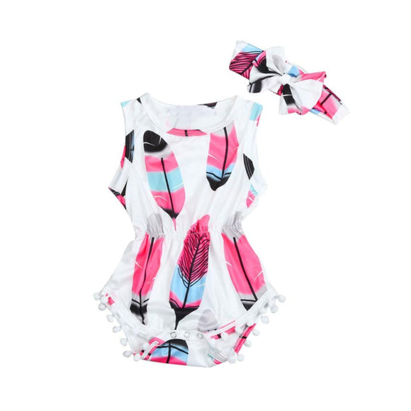 Baby girls romper Infant Kids Baby Girls Sleeveless Feather Romper Jumpsuit+Headband 2PCS Set YL - Xtrem Shopping