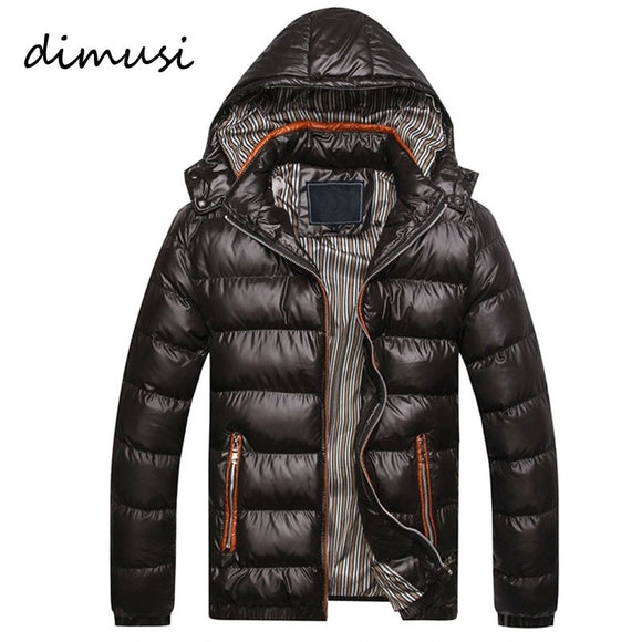Dimusi New Men Winter Jacket Fashion Hooded Thermal Down Cotton Parkas Male Casual Hoodies Brand Clothing Warm Coat 5Xl Pa064