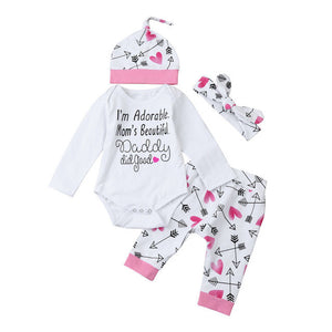 2017 Newborn Baby Boy Girl Clothes Long Sleeve Romper+Heart Pattern Long Pant+Headband+Hat 4Pcs unisex Newborn Baby Rompers - Xtrem Shopping