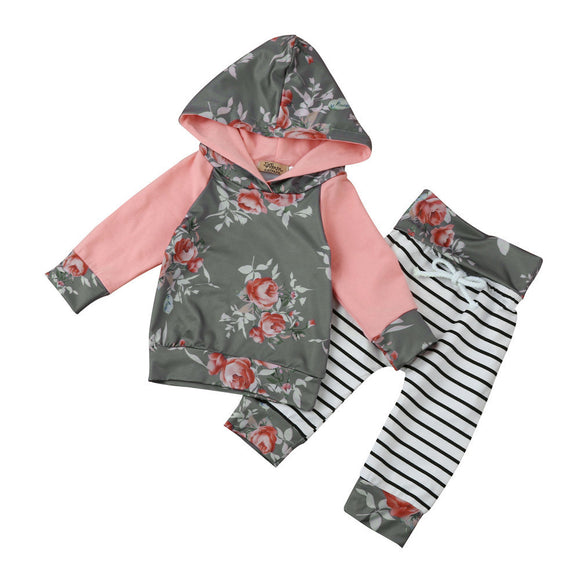 2017 New Toddler Infant Baby Boy Girl Autumn Fashion Clothes Long Sleeve Floral Stripe Hoodie Tops+Pants Outfit Clothes Set - Xtrem Shopping