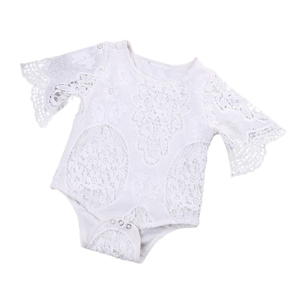 2017 Lovely Gifts Baby Girls White ruffles Sleeve hollow  Romper Newborn Baby Infant Lace Jumpsuit Clothes Sunsuit Outfits - Xtrem Shopping