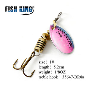 FISH KING Spinner Bait Mepps 1PC 3 Color 1# 2# 3# 4# 5# Fishing Lure Bass Hard Baits Spoon With Treble Hook Tackle High Quality - Xtrem Shopping