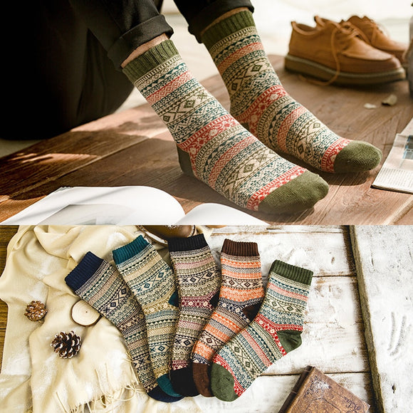 LNRRABC Winter Thick Warm Stripe Wool Socks Casual Calcetines Hombre Sock Business Male Socks - Xtrem Shopping