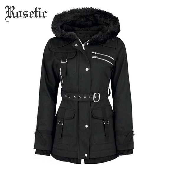 Rosetic Gothic Coat Women Sequined Rivet Hooded Zipper Black Jackets Adjustable Waist Belt Long Sleeve Flocking Outerwear Coats