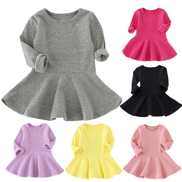 Baby Girls Candy Color Long Sleeve Solid Princess Casual Toddler Kids Dress - Xtrem Shopping