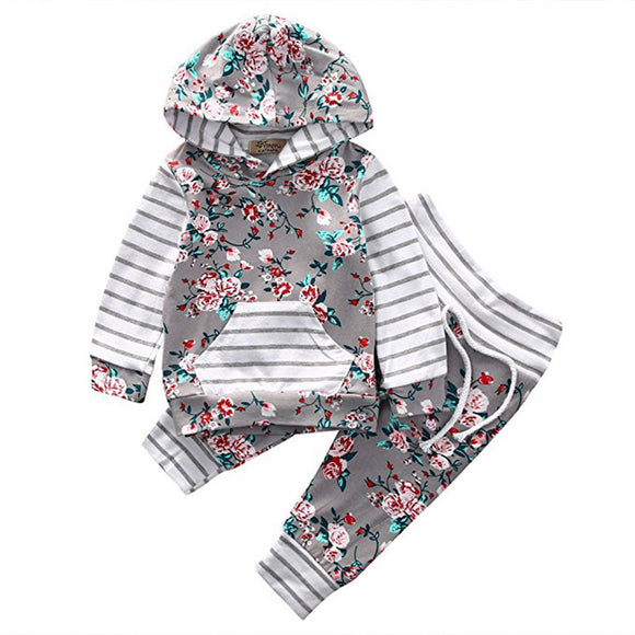 Newborn Infant Baby Girl Floral Striped Hoodie Tops+Pants Outfits Clothes Set - Xtrem Shopping