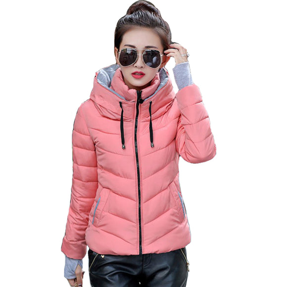 2018 hooded women winter jacket short cotton padded womens coat autumn casaco feminino inverno solid color parka stand collar - Xtrem Shopping