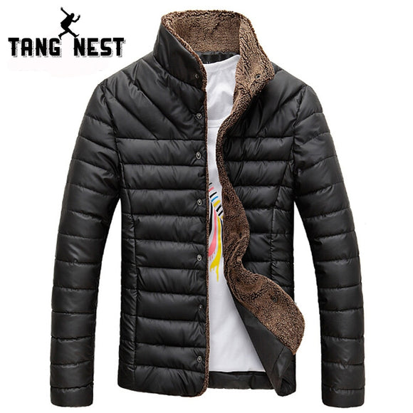 Tangnest 2018 Men Winter Jacket Warm Casual All-Match Single Breasted Solid Men Coat Popular Coat Two Colors Size M-3Xl Mwm432