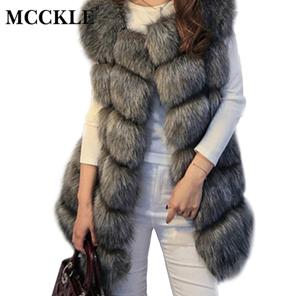 MCCKLE High Quality Fur Vest Coat Luxury Faux Fox Warm Women Coats Vest Winter Fashion Fur Women's Coat Jacket Vest 4XL Fur Coat - Xtrem Shopping