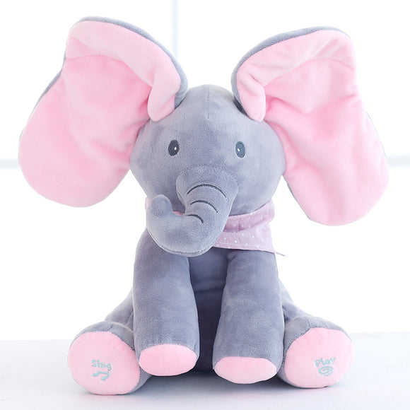 New Style Peek A Boo Elephant Stuffed Animals & Plush Elephant Doll Play Music Elephant Educational Anti-stress Toy For Children - Xtrem Shopping