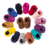 Pu Suede Leather Newborn Baby Boy Girl Moccasins Soft Shoes Fringe Soft Soled Non-Slip Crib First Walker