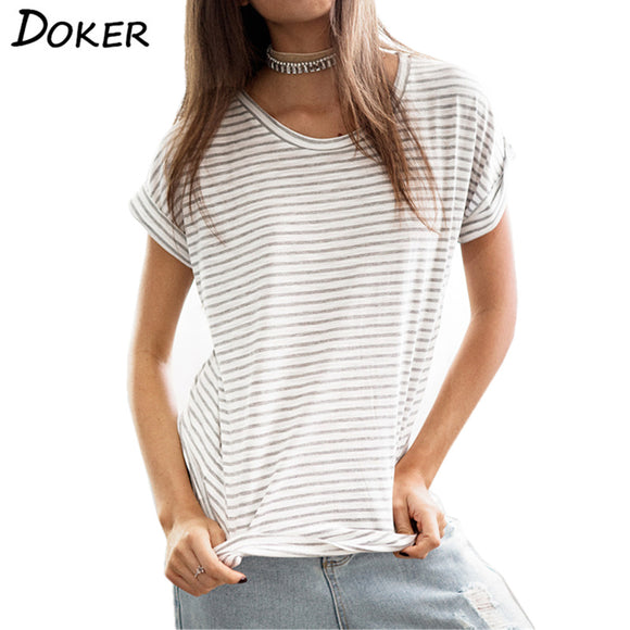 2018 Summer Tee Women Stripe Top Fashion Ladies O-neck Short Sleeve Cotton Casual T Shirts White Cheap T-shirt - Xtrem Shopping
