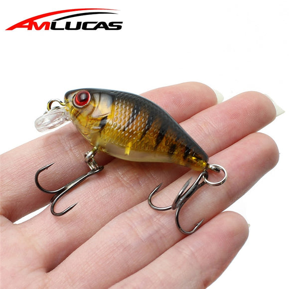 Amlucas Minnow Fishing Lure 45mm 4.4g Crankbait Hard Bait Topwater artificial Wobblers Bass carp fishing Accessories WE304 - Xtrem Shopping