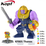 Single Sale Super Heroes Avengers 3 Thanos Infinity Gauntlet With 24Pcs Power Stones Vision Building Blocks Children Toys Kf805