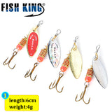 FISH KING 4Pcs/Lot Mepps Spinner Bait Size 1#2#3#4#5# Fishing Lures Spoon With Treble Hook Hard Fake Fish Metal Lures Set - Xtrem Shopping