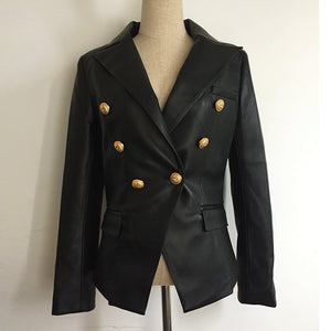 Newest Fall Winter 2018 Designer Blazer Jacket Womens Lion Metal Buttons Double Breasted Synthetic Leather Blazer Overcoat