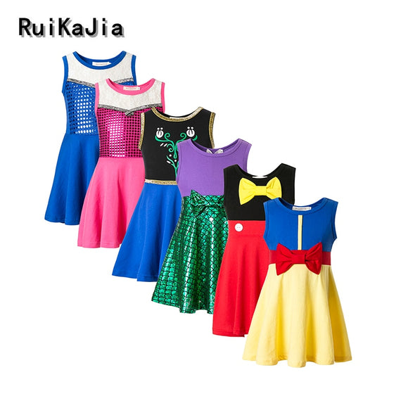 Girls Clothing snow white princess dress Clothing Kids Clothes,belle moana Minnie Mickey dress birthday dresses mermaid costume - Xtrem Shopping
