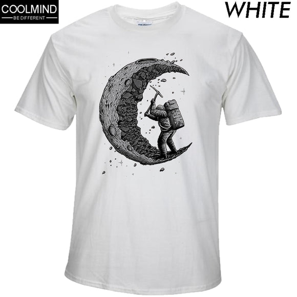 100% cotton digging the moon print casual mens o-neck t shirts fashion men's tops men T-shirt short sleeve men tshirt 2017 - Xtrem Shopping