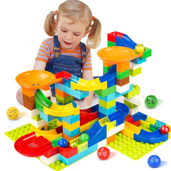 104-208PCS Marble Race Run Maze Ball Track Building Blocks Plastic Funnel Slide Big Size Bricks Compatible Legoingly Duplo Block - Xtrem Shopping