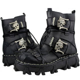 Men's Cowhide Genuine Leather Work Boots Military Combat Boots Gothic Skull Punk Motorcycle Martin Boots - Xtrem Shopping