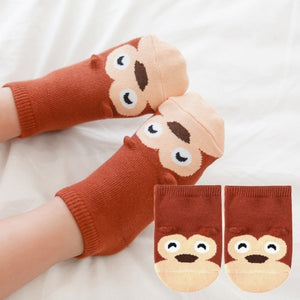 Small Infant Socks Little Ears Cotton Socks Kids Baby Cartoon Pattern Anti-Slip Socks S M New Arrival