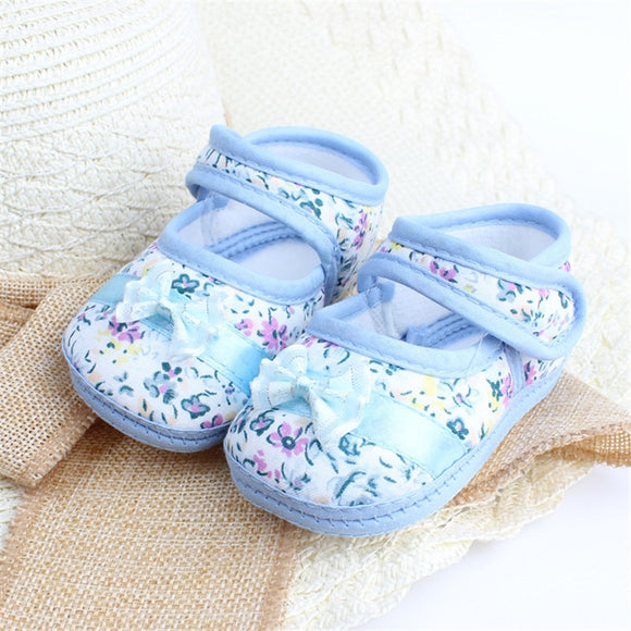 Infants Shies Baby Kids Bowknot Flower Printed Prewalker Cotton Fabric Shoes - Xtrem Shopping