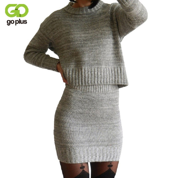GOPLUS 2018 Winter 2 Pieces Sweater Dress Set Women Long Sleeve Office Wear Casual Gray  Pullover Knitted Dresses Clothing Suit - Xtrem Shopping