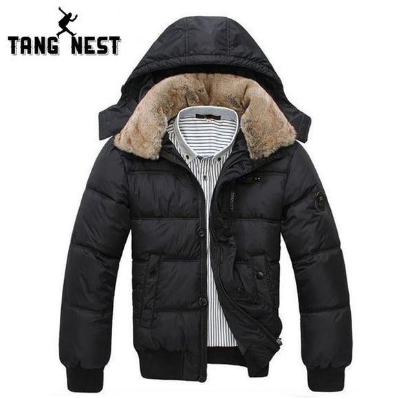 Tangnest 2018 Winter Jacket Men Thick Warm Solid Color Mens Coat Hat Detachable Necessary Coat Black White Size M-Xxxl Mwm001
