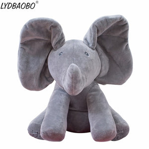 1PC 30cm Peek A Boo Elephant & Bear Stuffed Animals&Plush Doll Play Music Elephant Educational Anti-stress Toy Gift For Children - Xtrem Shopping