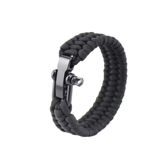 2018 Newest Outdoor Survival Stainless Buckles Camping Hiking Rescue Bracelets Parachute Cord Men & Women Emergency Rope Black - Xtrem Shopping