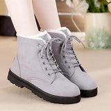 Snow Boots 2018 Classic Heels Suede Women Winter Boots Warm Fur Plush Insole Ankle Boots Women Shoes Hot Lace-Up Shoes Woman - Grey / 4.5