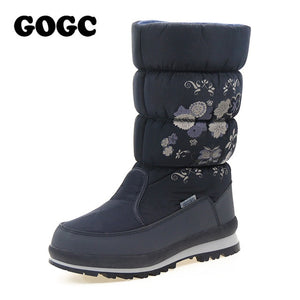 GOGC 2018 New Arrial Women's Winter High Boots Shoes Comfortable Flower Floral Women's Boots Winter Boots for Women Winter Shoes - Xtrem Shopping