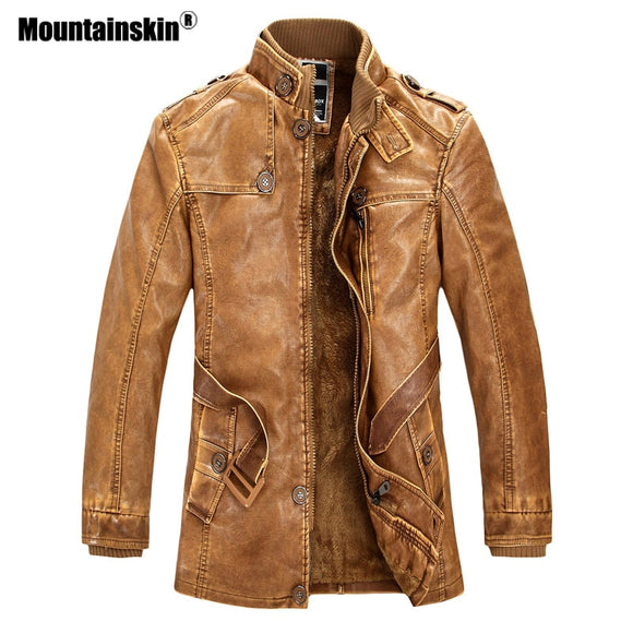 Mountainskin Winter Men's PU Jacket Motorcycle Coats Thick Fleece Warm Outerwear Slim Fit Male Leather Coat Brand Clothing SA557 - Xtrem Shopping