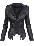 Gothic  faux leather PU Jacket Women Winter Autumn Fashion Motorcycle Jacket Black faux leather coats  Outerwear 2018 Coat HOT - Xtrem Shopping