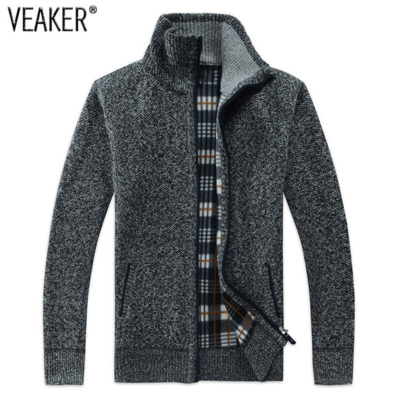 2018 Autumn Winter Men's SweaterCoat Faux Fur Wool Sweater Jackets Men Zipper Knitted Thick Coat Casual Knitwear M-3XL - Xtrem Shopping