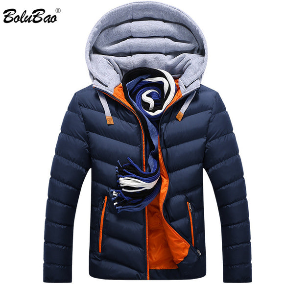 Bolubao 2018 New Winter Men Parkas Warm Down Jacket Casual Parka Male Jacket Casual Slim Fit Hooded Jacket Coat Men